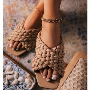 Nude Woven Straps Sandals